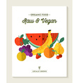 Vegan and vegetarian food concept with fruits vector image