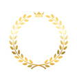 Gold laurel wreath crown vector image