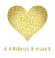 golden metal heart isolated on white vector image