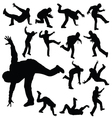man in various poses of break dance silhouette vector image