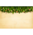 Decorated Christmas tree branches on a old paper vector image