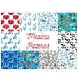 Medical tools medication items seamless pattern vector image