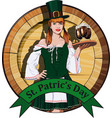 irish waitress with beer label vector image