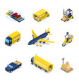 isometric delivery concept air cargo plane vector image