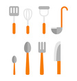 Cutlery Set Basic set of tableware isolated on vector image