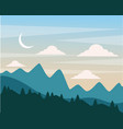night hills landscape mountains trees and moon vector image
