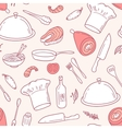Outline seamless pattern with food elements in vector image
