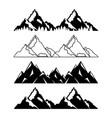 Set of mountains with snow and trees vector image