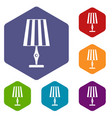 table lamp icons set hexagon vector image