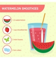 Watermelon smoothie recipe with ingredients vector image