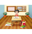 A boy writing at the table vector image