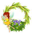 A round border with a fairy in her yellow dress vector image