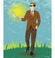 pop art of businessman holding vector image