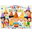 Happy boy blowing birthday candles with his friend vector image