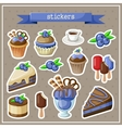 Set of stickers with sweets cakes ice cream and vector image