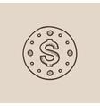 Wall clock with dollar symbol sketch icon vector image
