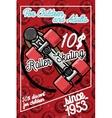 Color vintage roller Skates poster vector image