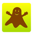 ghost isolated sign brown icon at green vector image