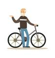happy senior man walking with bike healthy active vector image