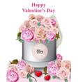 happy valentine card with peony and roses flowers vector image