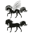 pegasus winged horse silhouettes vector image