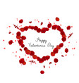 valentines greeting card heart of rose petals vector image