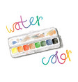 Watercolors and paintbox rainbow watercolor vector image