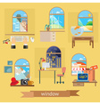 Window set of flat design vector image