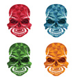 set of skulls polygon art vector image