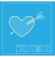Arrow heart sign White section of icon on vector image