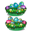 decorative bowl with painted easter eggs vector image