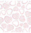doodle hearts with bubbles seamless pattern vector image