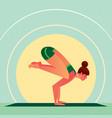 girl standing in yoga crane pose or bakasana vector image