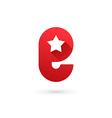 Letter E star logo icon design template elements vector image