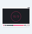 video player interface modern template vector image