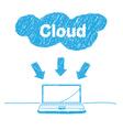 handwriting sketch cloud computing concept vector image