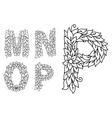 Floral letters M N O and P vector image