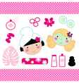 Cute spa set elements with beautiful girls vector image vector image