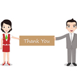 Businessman and businesswomen holding Thank you vector image vector image