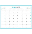 Calendar Planner for 2017 Year Design Template May vector image