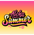 aloha summer abstract hand lettering vector image