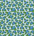 blue floral seamless pattern - flower with leaves vector image