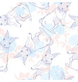 cute seamless pattern with watercolor rabbits vector image