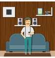 Hipster Guy Character At Home vector image