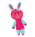 Pink rabbit with blue ears vector image