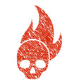 skull fire icon grunge watermark vector image