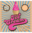 Vintage ice cream and inscriptions vector image
