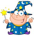 Wizard Boy Waving With Magic Wand vector image
