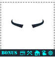 Buffalo horns icon flat vector image