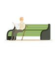 grey senior man sitting on a wooden bench and vector image